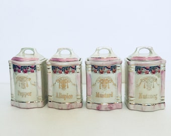 Lusterware Spice Canisters Antique German Made Porcelain Ceramic in Pink with Black Greek Key Gold Lettering and Dark Pink Roses