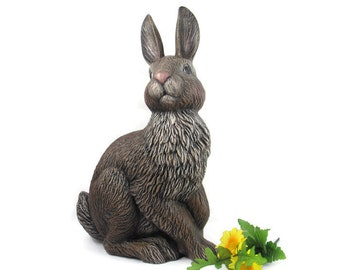 Large Ceramic Bunny for the Garden - 14.5 inches - hand painted Easter or Garden Bunny, indoor or outdoor, lawn or garden