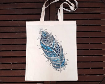 Tote Bag, Shopping Bag, Cotton Tote, Market bag, Eco Tote Bag, Custom, Cotton Tote bag, Zentangle, hand painted, cotton, made in spain
