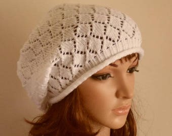 White lace beret, women beanie, slouch hat for women, slouchy beanie, baggy beret, elegant tam, handmade knitted women hat, made from acryl