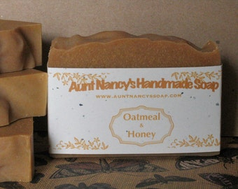 Oatmeal and Honey Homemade Soap - Natural Handmade Soap with Oatmeal and Desert Honey - Gentle, Mild Soap For Bath, Face, Shower