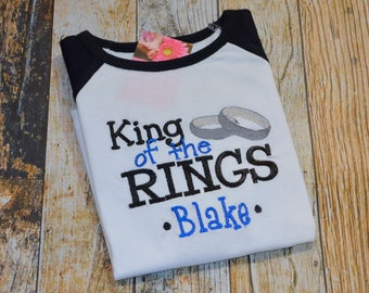 Ring Bearer Shirt  - King of the Rings Raglan Tshirt - Personalized with Wedding date, Last name or Child's Name - Emroidered