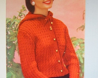 Knit Hooded Sweater Pattern - 1950's Vintage Pattern, Women's Knit Sweater KIY11 PDF Pattern