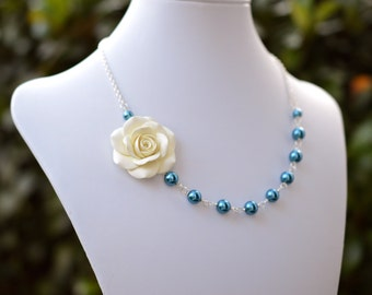 FREE EARRINGS Antique White/Cream Rose and Teal Blue Pearls Necklace, Flower Necklace, Bridesmaid Necklace, Bridal Jewelry
