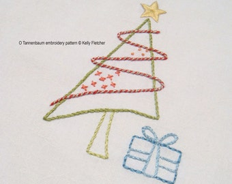 O Tannenbaum modern hand embroidery pattern - modern embroidery PDF pattern, digital download