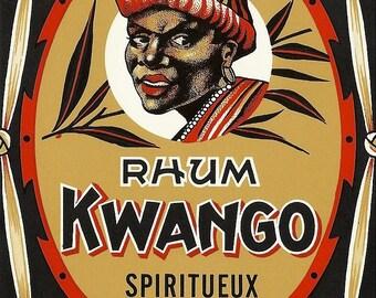 Kwango Rhum Vintage Spiritueux Label, 1930's