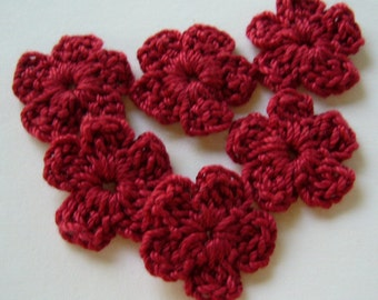 Crocheted Flowers - Red Forget-Me-Nots - Cotton Flowers - Crocheted Flower Appliques - Crocheted Flower Embellishments - Set of 6