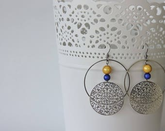 Surgical steel earrings, print and beads