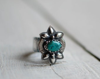 Silver turquoise ring Native American, Sterling, ethnic, Bohemian gypsy, ethnic