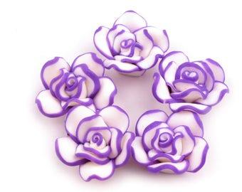 10 Roses, plastic (FIMO),purple, 2 cm (1306)