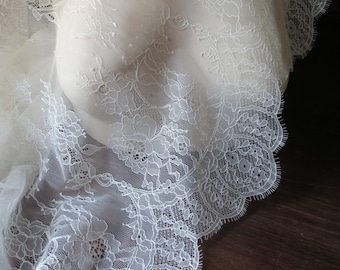 SAMPLE Chantilly Lace Fabric in Ivory Cream for Bridal Gowns, Mantilla Veils,  Lingerie CH 14