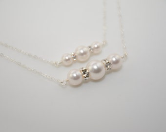 Mother daughter gift, Pearl necklace set, Swarovski pearls, Sterling silver necklace