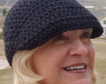 Cute chemo hat that's a black newsboy, great all cotton hat for women, comfortable and chic, women's head fashions, free shipping USA