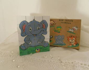 """Wood cube puzzle 20 """"baby animals"""" and its box"""