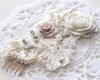 Last  hair piece sale! wedding lace hairpiece, Embroidered flower hair comb, wedding hair accessories, wedding headpiece, lace hair comb
