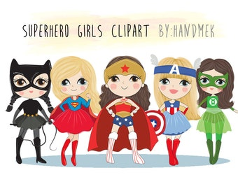 Cute Superhero girls clipart set 1 : Instant Download PNG file - 300 dpi