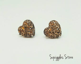 Rose Gold Sparkling Druzy Heart Stud Earrings Hypo-allergenic Titanium Posts