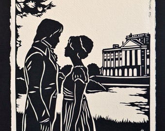 PRIDE AND PREJUDICE Papercut - Elizabeth and Darcy at Pemberley - Hand-Cut Silhouette