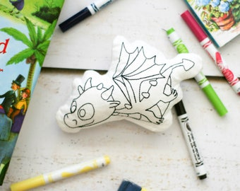Dragon Doodle Doll - Kids Art Activity - Dragon Pillow - Rainy Day Activity - Crafts For Kids - Fairy Tale Activity - Birthday Party Favor