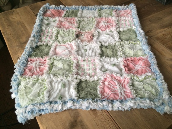 VINTAGE, CHENILLE, RAGGED, Baby Blanket in Beautiful Pinks and Soft Greens with Distressed Denim