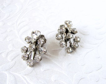 Dainty Rhinestone Clip Back Earrings Small 1950s Vintage Costume Jewelry Wedding Bridal Formal Cocktail Evening Prom Pageant Ballroom