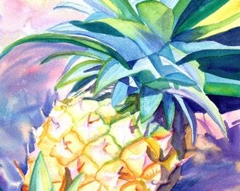 pineapple  art print,  8 x 10 giclee, hawaiian pineapples, hawaii artwork, kauai decor, pineapple design, hawaiian art, hawaii maui oahu
