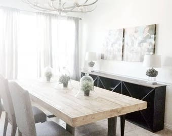 Made to Order Modern Rustic Farmhouse Dining Table in Natural and Gray Finish