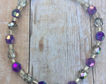 Purple silver iridescent beaded bracelet