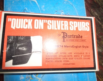 Partrade vintage Quick One Chrome plated Spring Steel Spurs Mens English Style #25874 in original box- Chrome plated spring steel