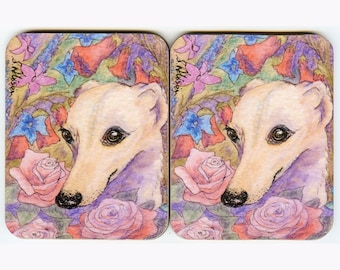 2 x whippet greyhound dog floral coasters