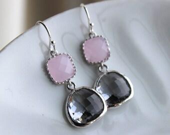 Charcoal Gray Earrings Pink Earrings Silver - Bridesmaid Earrings - Wedding Earrings - Bridesmaid Jewelry Gift - Wedding Jewelry
