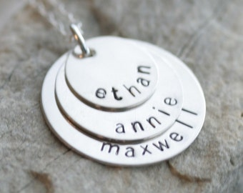 Featured in Midwest Living Magazine - Personalized Stacking Necklace in Sterling Silver - 3 Discs