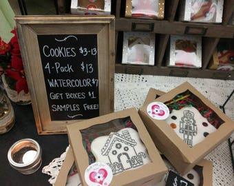 Half Dozen Watercolor Cookies_Paint your own cookie