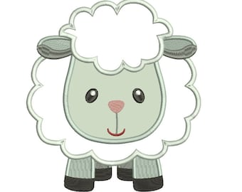 Little Sheep Applique Machine Embroidery Digitized Design Pattern  - Instant Download - 4x4 , 5x7, and 6x10 -hoops