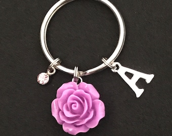 Personalized Lilac Rose Keychain Personalized Lilac Rose Gift