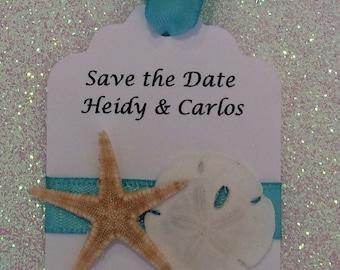 10 Personalized Beach Wedding Tags, Starfish & Sand Dollar Favors, Nautical Wedding Favors, Beach Theme Invitations, Nautical Tags