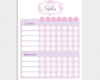 Printable Chore Chart- Chore Chart - Monogram Chore Charts - Weekly Chore Chart - Children Chart- Routine charts-  Reward Chart
