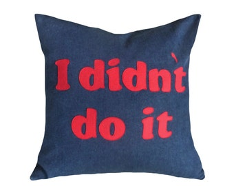 Funny Pillows with Sayings, Man Cave Pillow, I Didn't Do It Word Pillow, College Dorm Decor, Gift Idea for HIM, 20x20, PillowThrowDecor