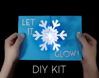 Snowflake Light-Up Card Kit - Greeting Card Kit - Pop-Up Card Kit - Snowflake Card - Let It Glow Card - Awesome Card - Paper Snowflake - DIY