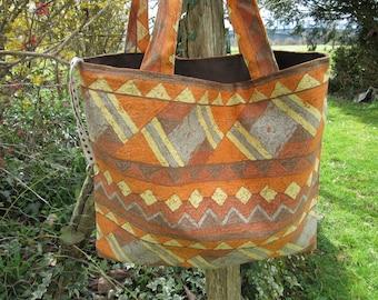 large bag, tote bag, ethnic, geometric shape, rust orange brown yellow grey