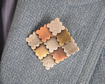 Patchwork Quilt Brooch- Gifts for Quilters- Quilt Jewelry- Modern Quilter- mixed metal jewelry