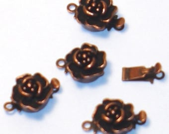 10 sets of Antiqued copper plated rose clasp 10mm