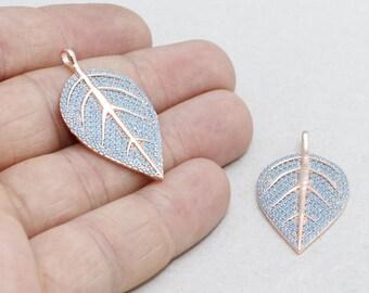 22k Micro Pave Leaf , Leaf Necklace, Cubic Zirconia Leaf , Leaf Necklace, Cz Jewelry, zrcn213