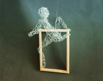 Climbing Sculpture Wall decor Wire mesh figures Wall hanging Metal art  Rock climber  Sports decor Housewarming gift
