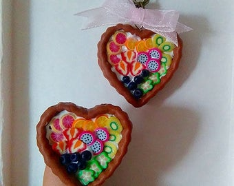 Fruit pies adornment in the form of hearts in polymer clay.