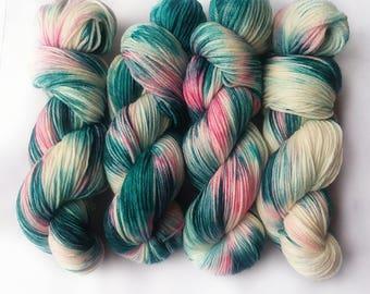 Hand dyed yarn, Serene dream, 100% super wash merino wool yarn, dk weight yarn, teal green yarn, pink yarn, white yarn