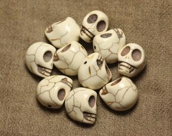 5pc - beads skulls Turquoise 18mm cream white - 4558550019776 synthesis skulls