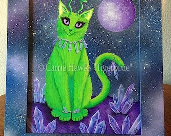 Alien Cat Art Original Cat Painting Space Cat Green Alien Cat Big Eye Art Original Cat Art Painting Art For Cat Lover