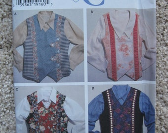 UNCUT Misses Vests - Size XS to XL - Simplicity Sewing Pattern 7231