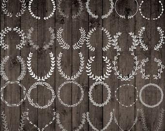 "Chalkboard Laurels Wreath clipart: ""CHALKBOARD CLIP ART"" Hand Drawn Chalk wreaths Chalk Floral Frames Wedding clip art instant download"